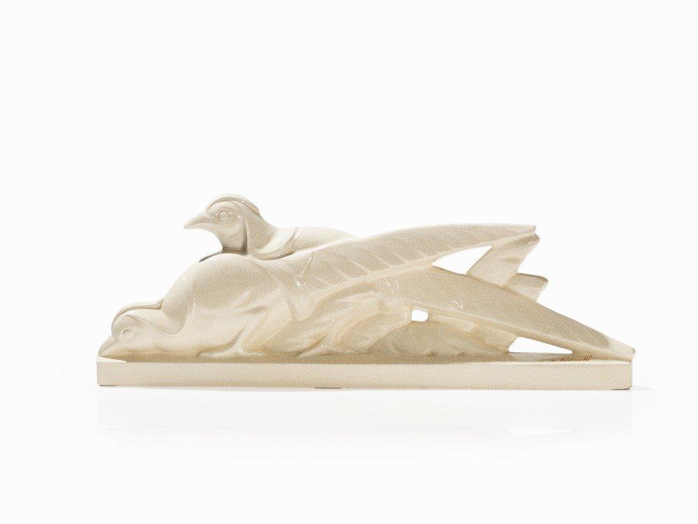Louis Fontinelle, Art Deco Figure, Pair of Pheasants,