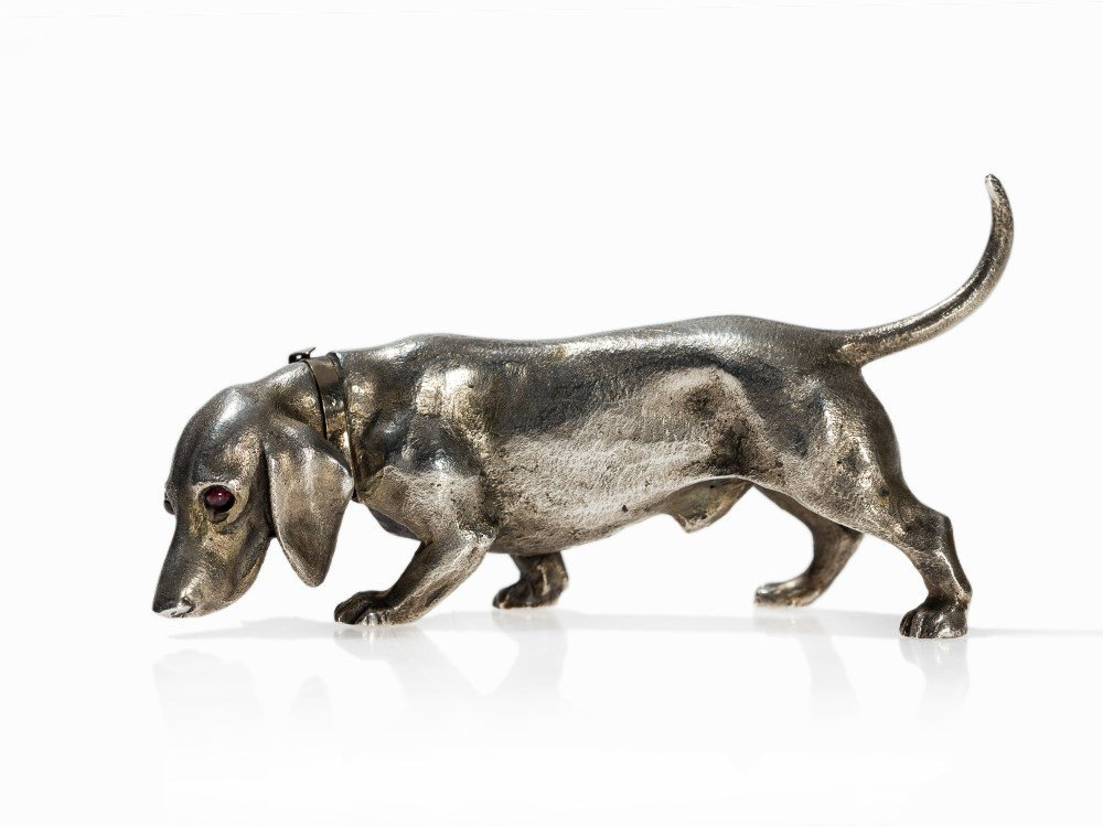 A Silver Fabergé Style Animal Miniature, Moscow,