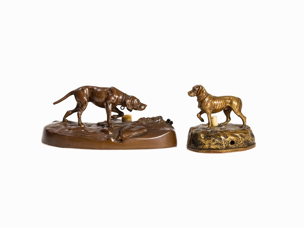A Pair of Electric Table Bells with Hunting Dogs, 1st H
