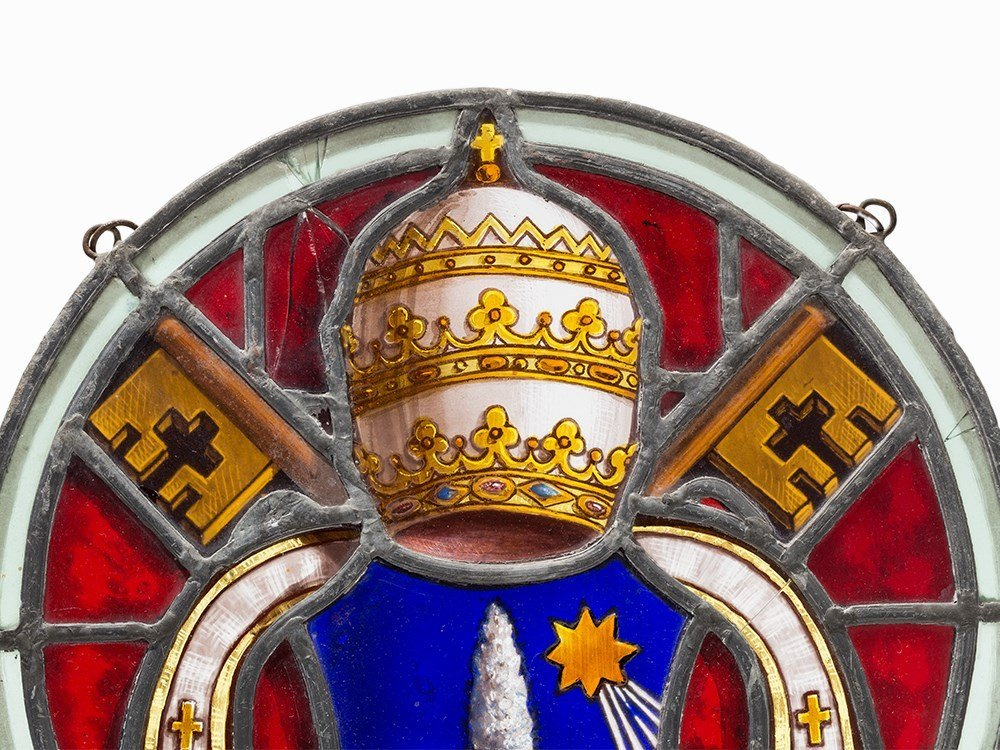 Stained Glass Work, Coat of Arms of Pope Leo X III, c. - 2