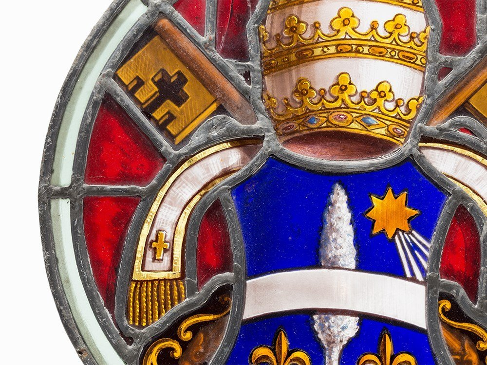 Stained Glass Work, Coat of Arms of Pope Leo X III, c. - 3