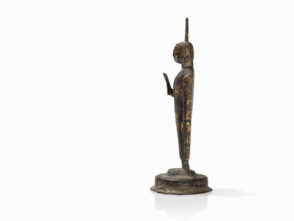 Gilt Bronze Figure of a Buddha with Flaming Ketumala, - 4
