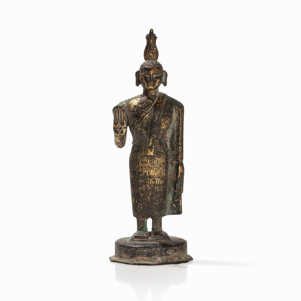 Gilt Bronze Figure of a Buddha with Flaming Ketumala, - 7