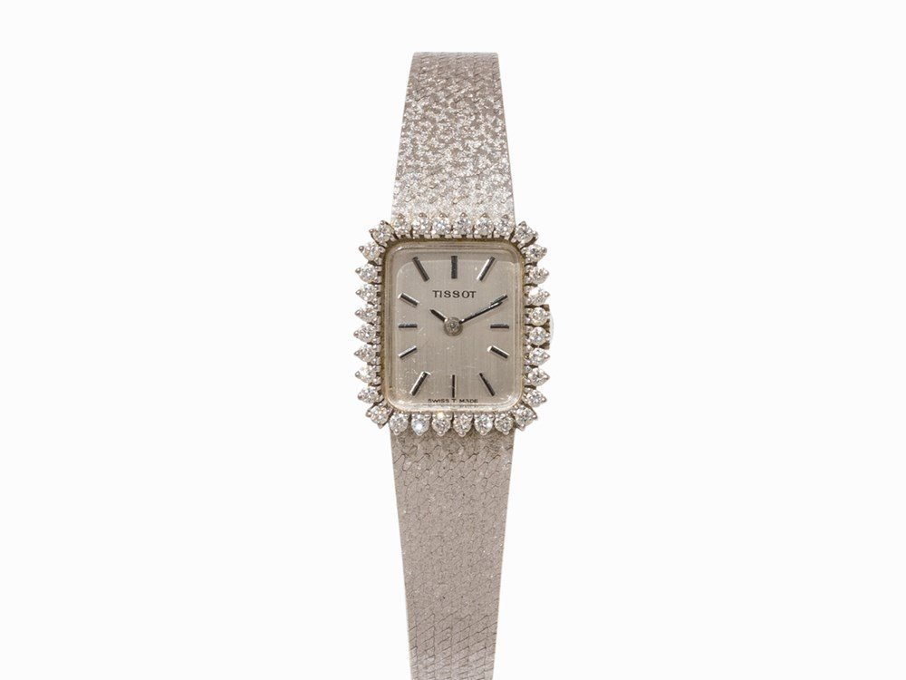 Tissot White Gold Lady's Watch with Diamonds, c. 1974