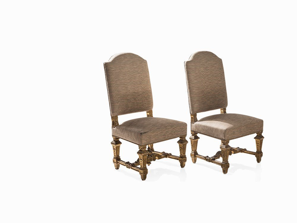 A Pair of Louis XIV Baroque Upholstered Chairs, France,
