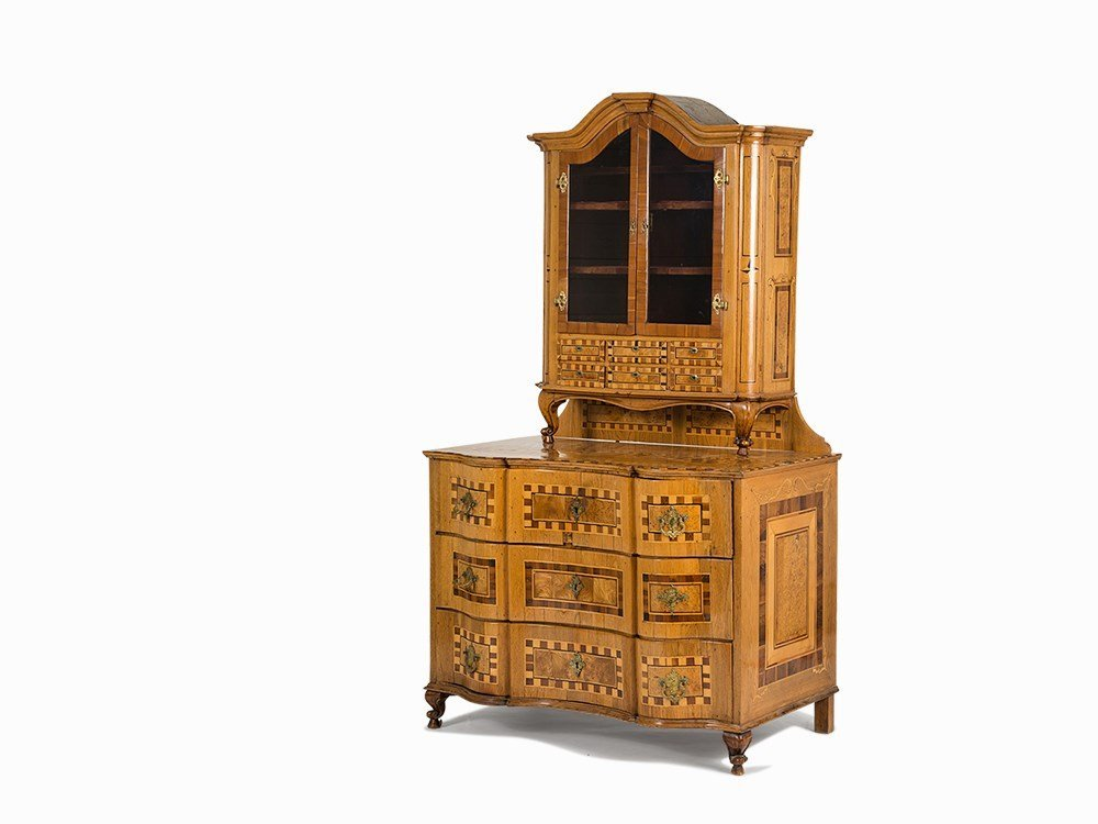 A Marquetry Chest-of-Drawers with Cabinet, Europe, c.