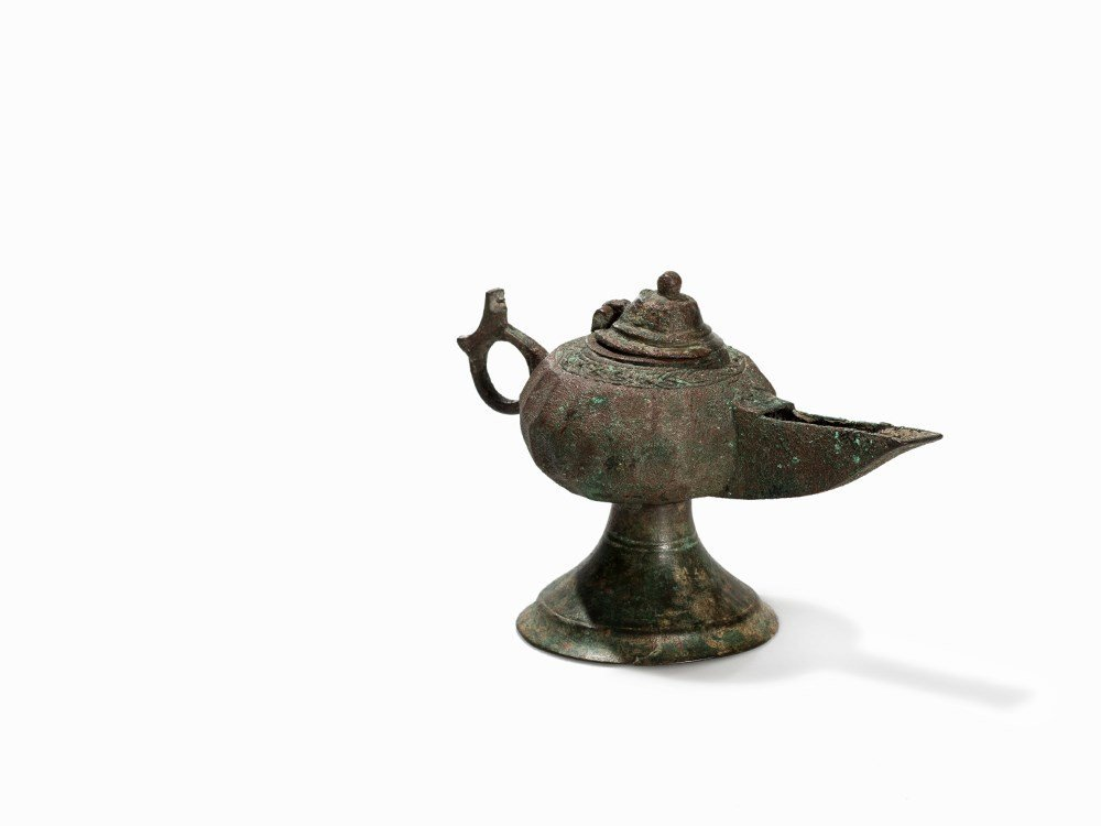 Bronze Oil Lamp With Lid, Khorasan, 12th-13th C.