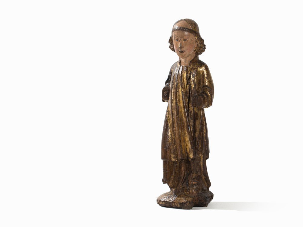 A Wood Sculpture,Standing Angel,Catalonia, Early 15th