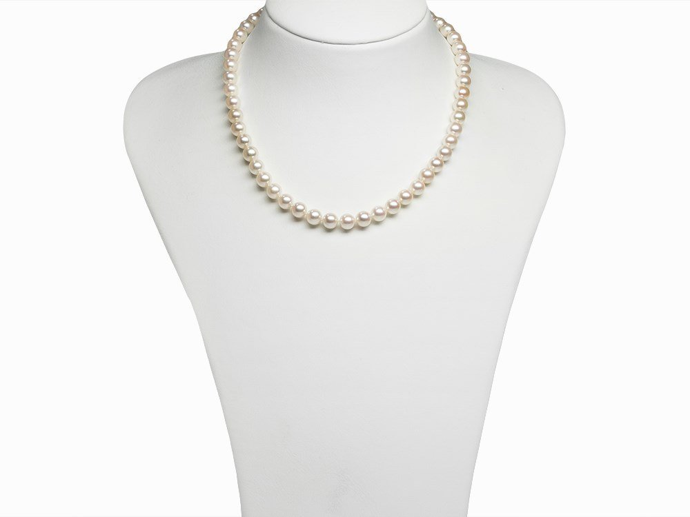 Akoya Pearl Necklace 7.5 - 8 mm with 14K Diamond Gold
