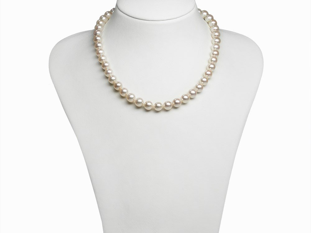 Akoya Pearl Necklace 9 - 9.5 mm with 14K Diamond Gold