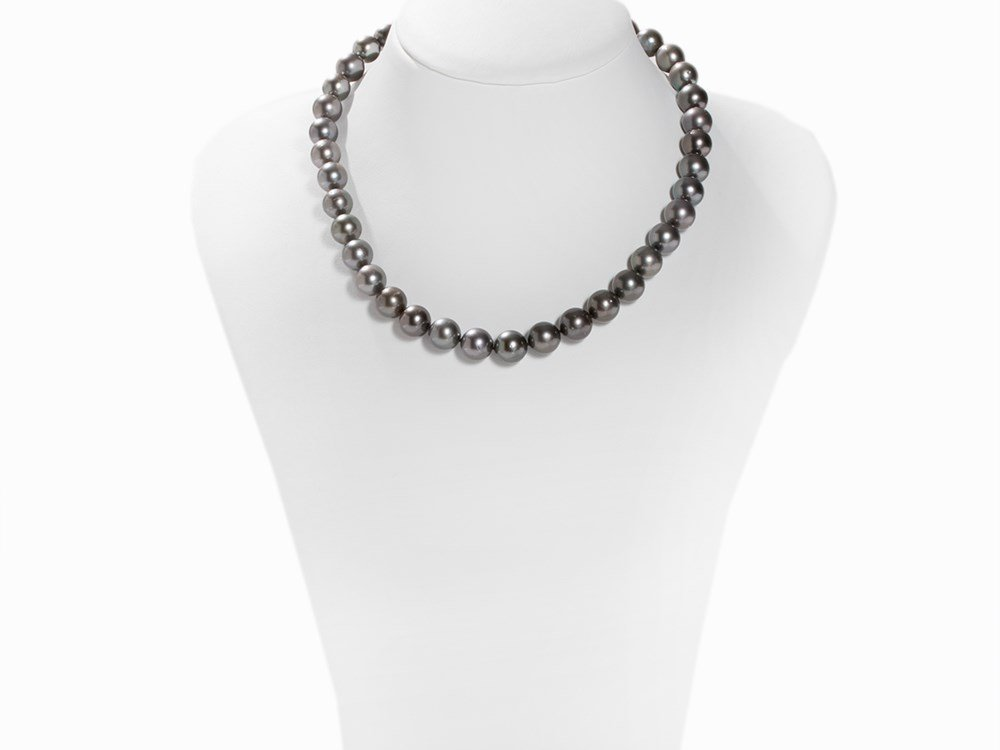 Tahitian Pearl Necklace 10 - 11 mm with 14K White Gold