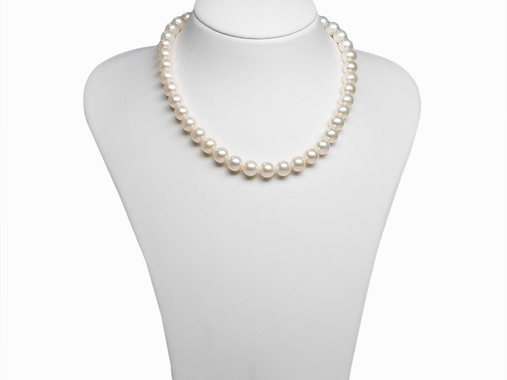 Freshwater Pearl Necklace 9.5 - 10.5 mm with 18K Gold