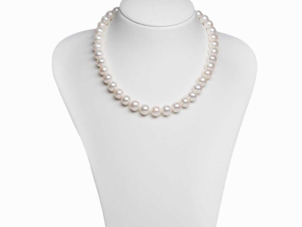Freshwater Pearl Necklace 10.6 - 11.5 mm with 14 K Gold