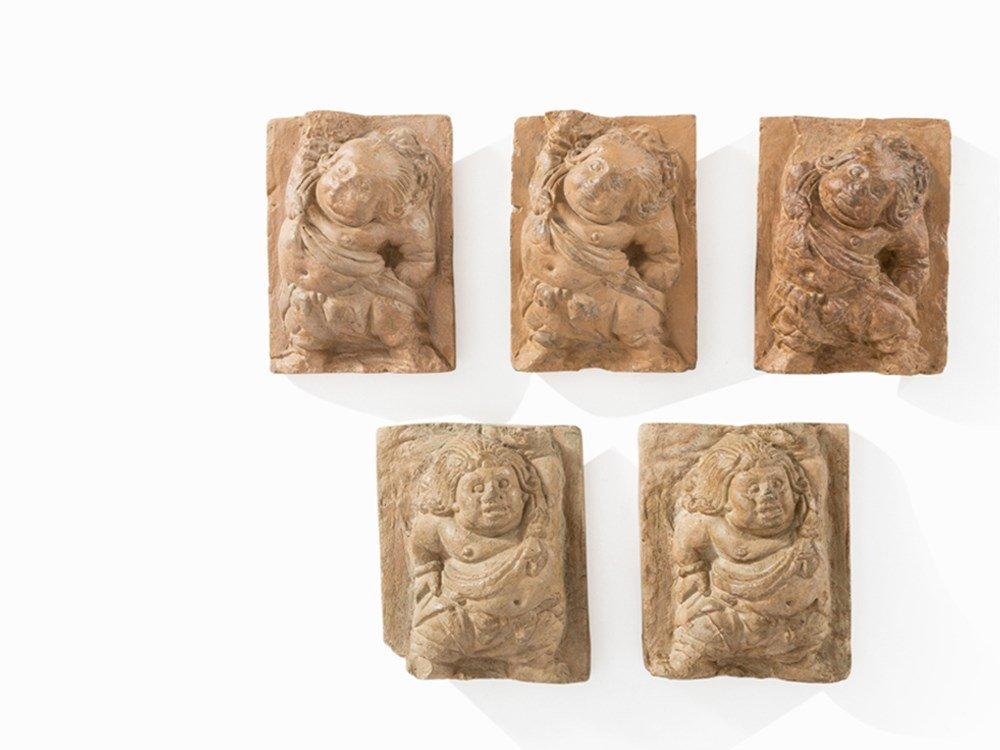 Five Rectangular Terracotta Reliefs with Deities,