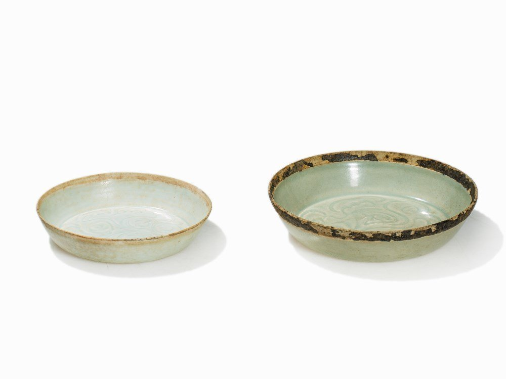 Two Qingbai Dishes with Floral Décor, Song, 11th-13th