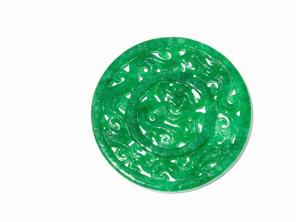 Apple Green Jadeite Disk with Dragon Décor, Qing
