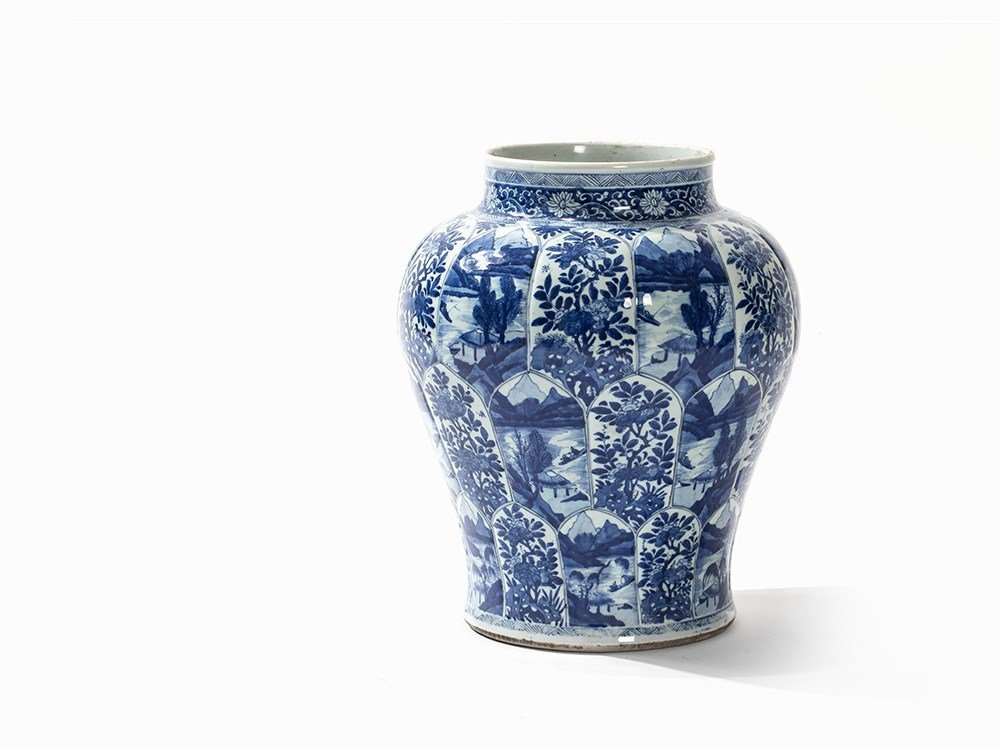Large Blue-and-White Jar, Landscapes and Flowers,