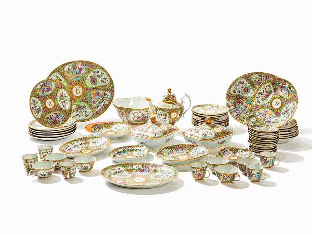 48-Piece 'Canton' Famille Rose Service, China, c. 1865