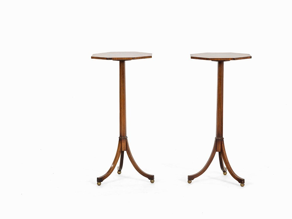 Pair of Octagonal Lamp Tables, Mahogany, England, Early