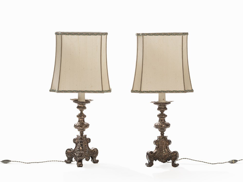 Pair of Lamps with Silvered Bases in the Baroque Style,