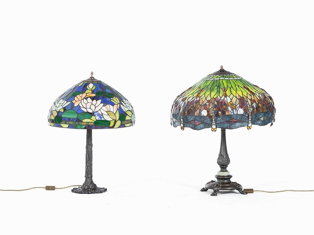 2 Large Tiffany Style Table Lamps, 20th C.