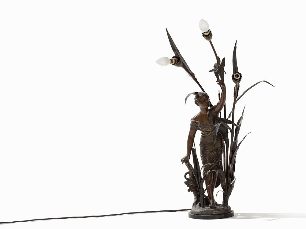 Fin de Sicle Bronze Lamp 'Le Printemps', c 1900