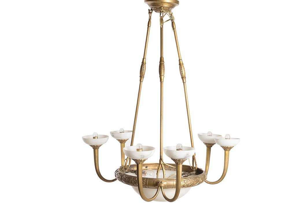 Art Deco Ceiling Lamp with Alabaster Bowls, France,