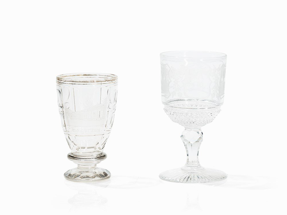 2 Faceted Glass Goblets, Bohemia, 2nd Half 19th Century