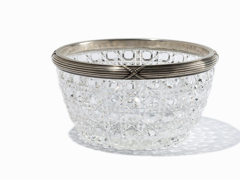 Fabergé-Style, Crystal Bowl with Silver Mounting, 20th
