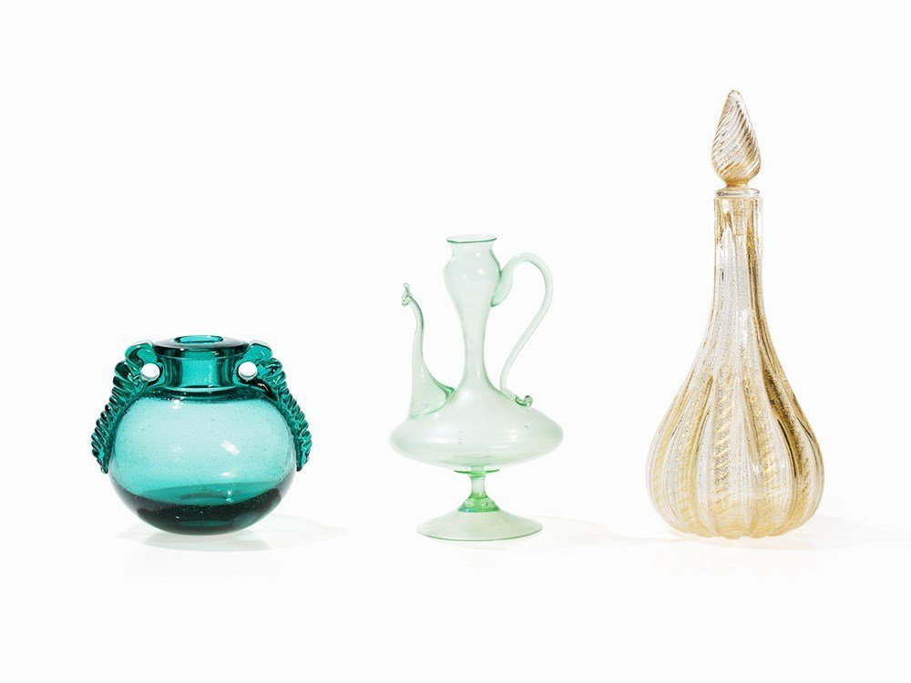 Collection of 3 Murano Glass Objects, Italy, 20th