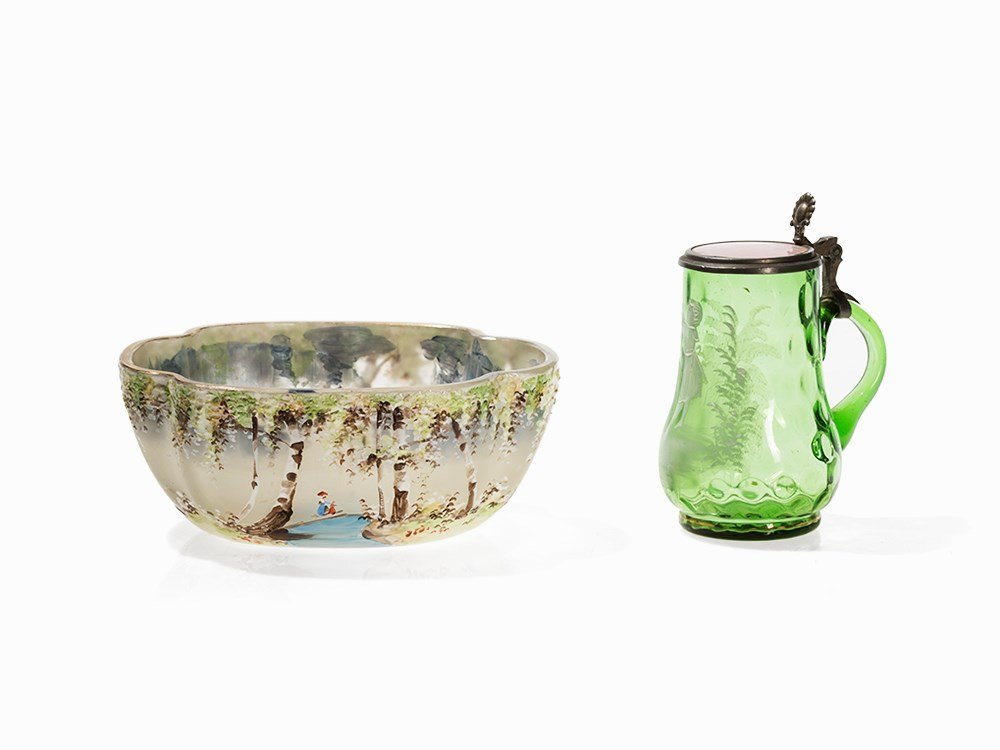 Hand-Painted Glass Bowl and Small Glass Jug, Bohemia,