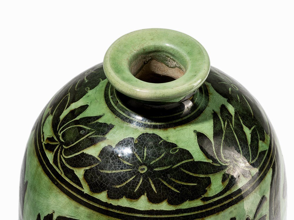 Green-Glazed Cizhou Vase with Black Painted Décor, 19th - 3