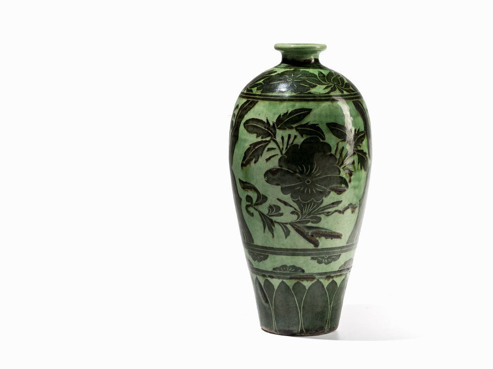 Green-Glazed Cizhou Vase with Black Painted Décor, 19th - 5