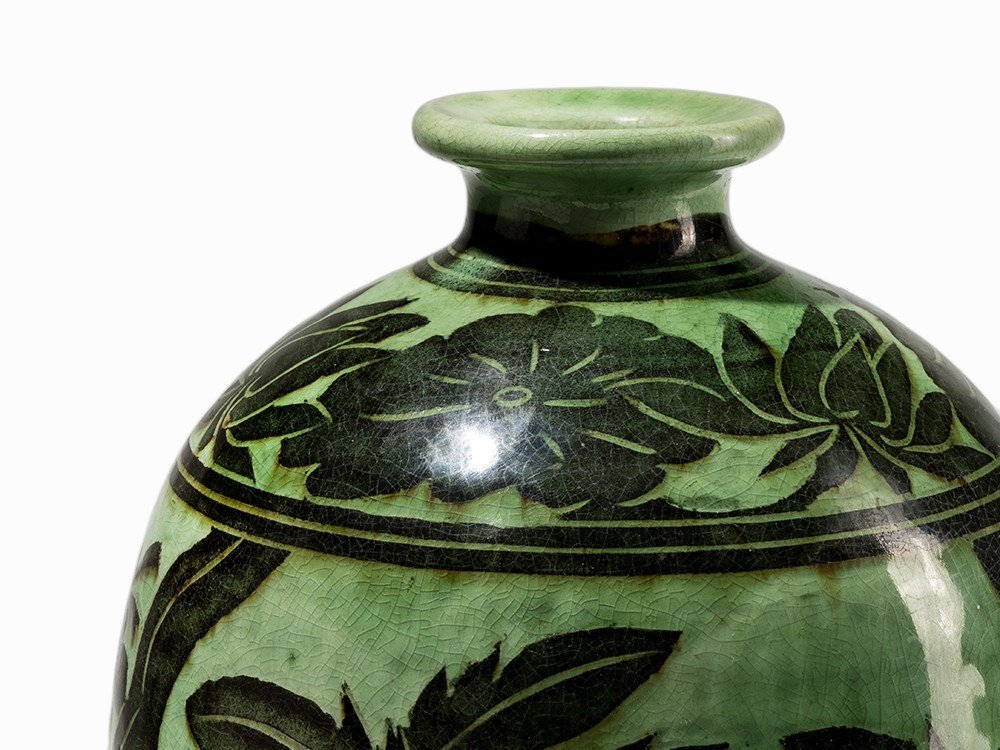 Green-Glazed Cizhou Vase with Black Painted Décor, 19th - 6