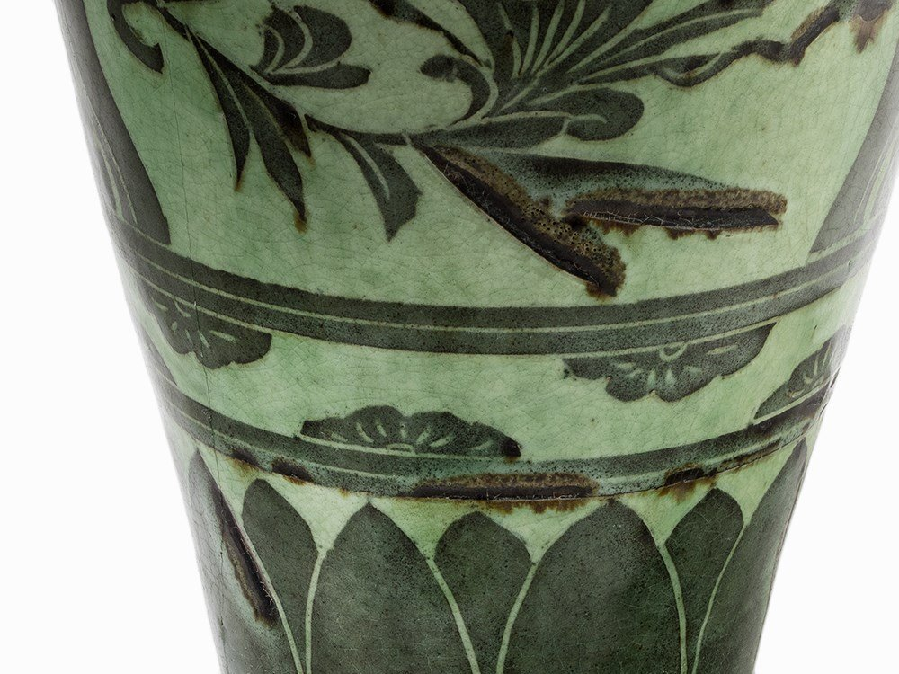 Green-Glazed Cizhou Vase with Black Painted Décor, 19th - 7