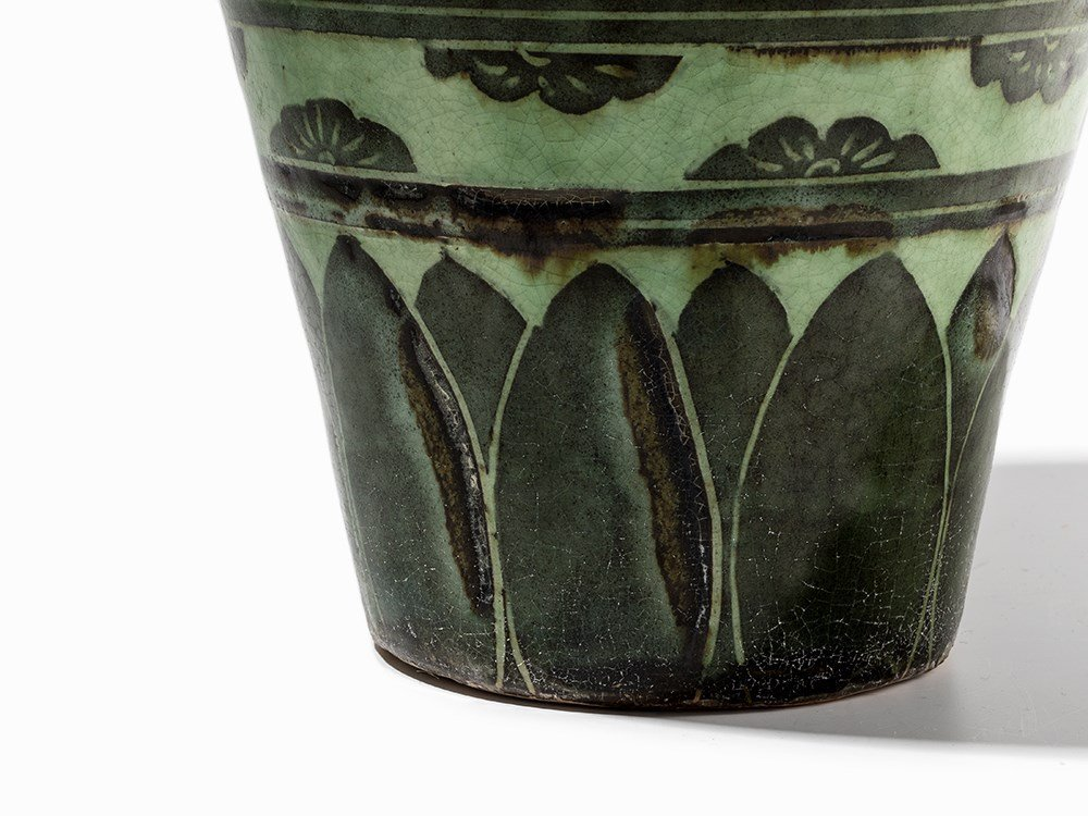 Green-Glazed Cizhou Vase with Black Painted Décor, 19th - 8