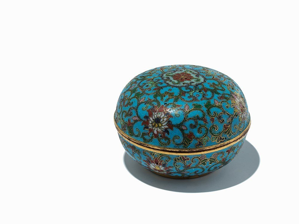 Circular Gilt-Bronze Cloisonné Enamel Box with Cover,