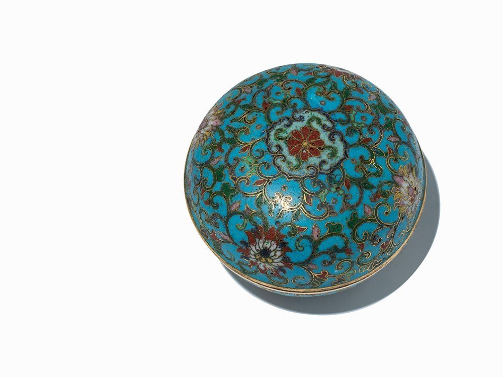 Circular Gilt-Bronze Cloisonné Enamel Box with Cover, - 2