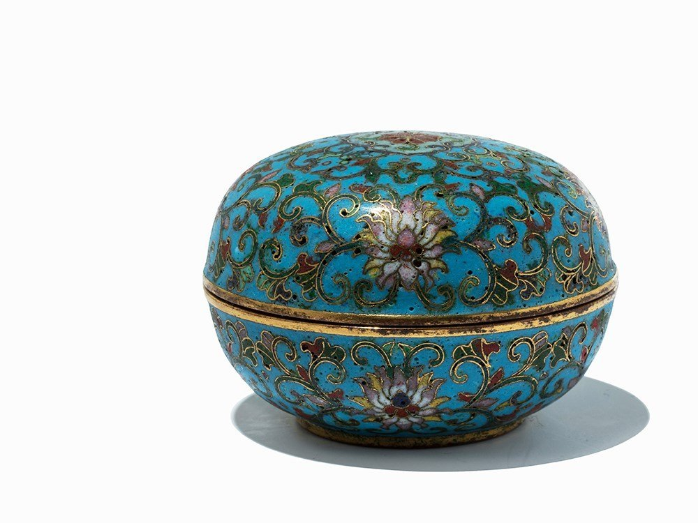 Circular Gilt-Bronze Cloisonné Enamel Box with Cover, - 3