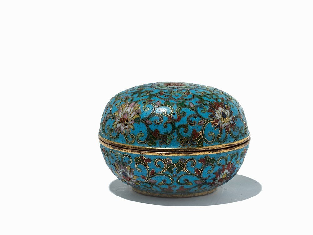 Circular Gilt-Bronze Cloisonné Enamel Box with Cover, - 4