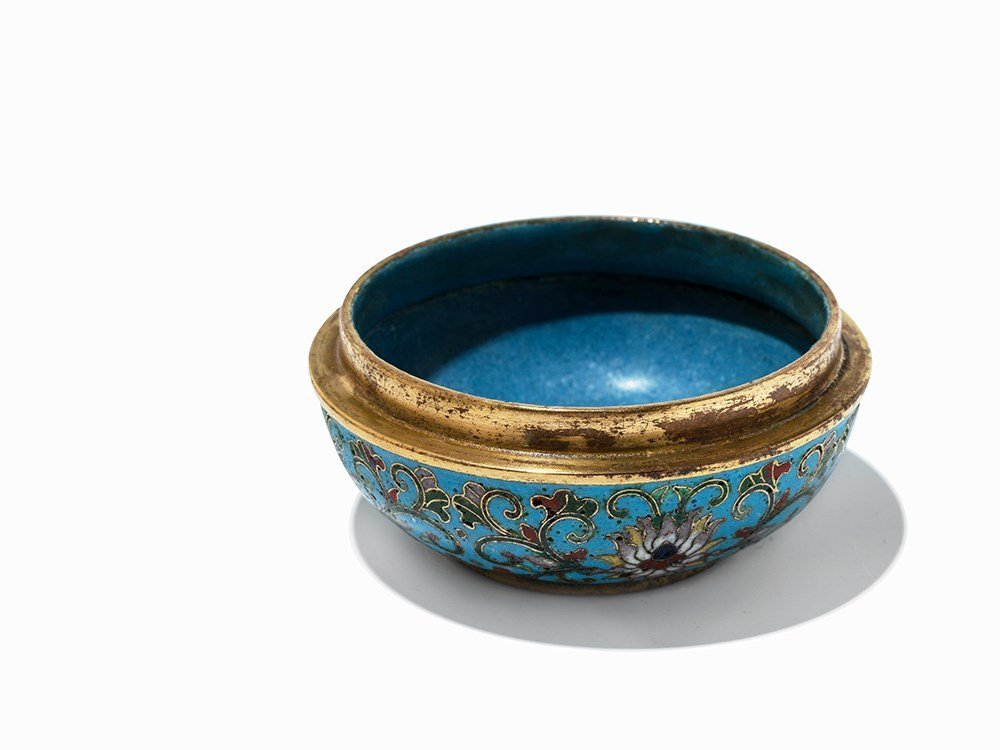 Circular Gilt-Bronze Cloisonné Enamel Box with Cover, - 7