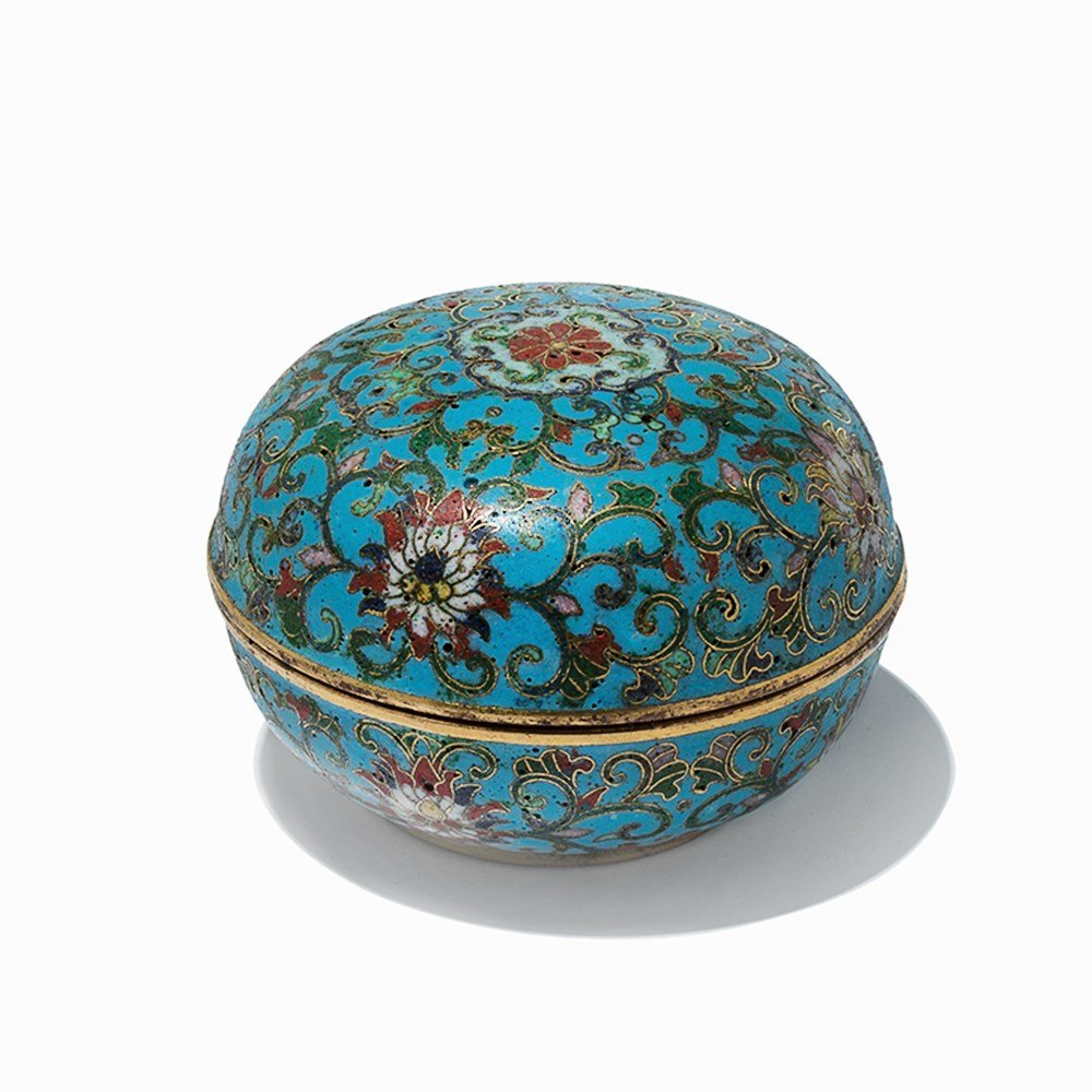 Circular Gilt-Bronze Cloisonné Enamel Box with Cover, - 9