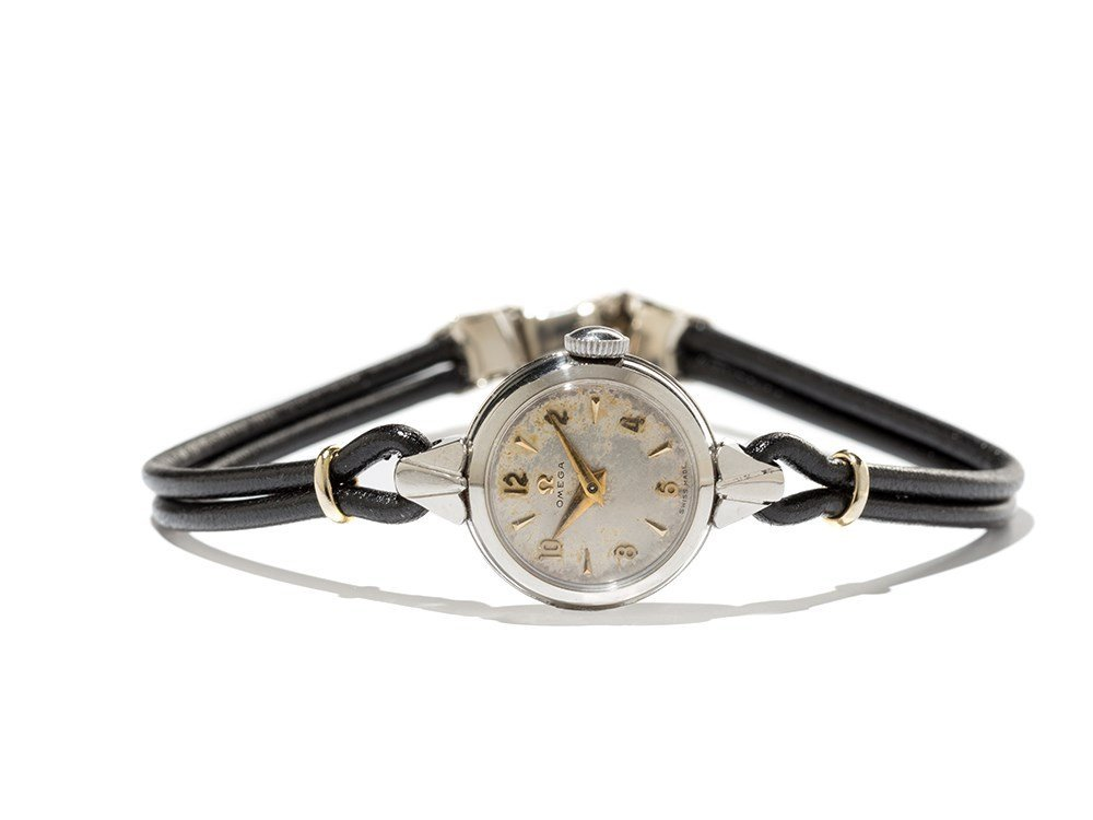 Omega Ladies Wristwatch wt. Leather Strings,