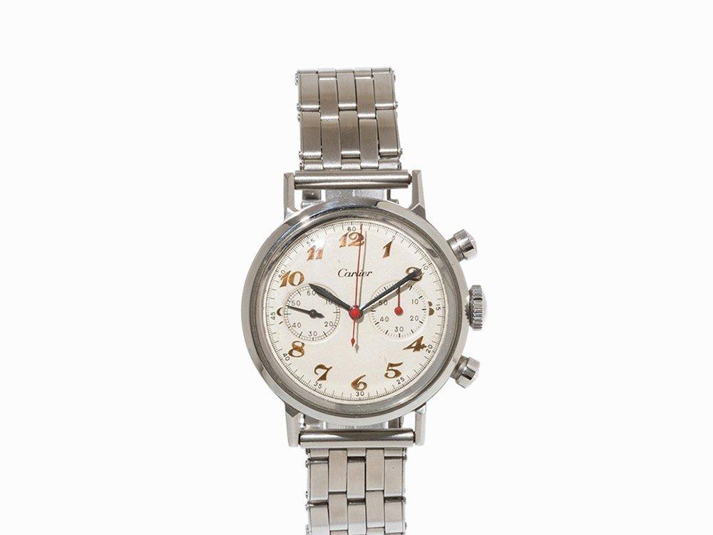 Movado Chronograph, Signed Cartier, Switzerland, c.