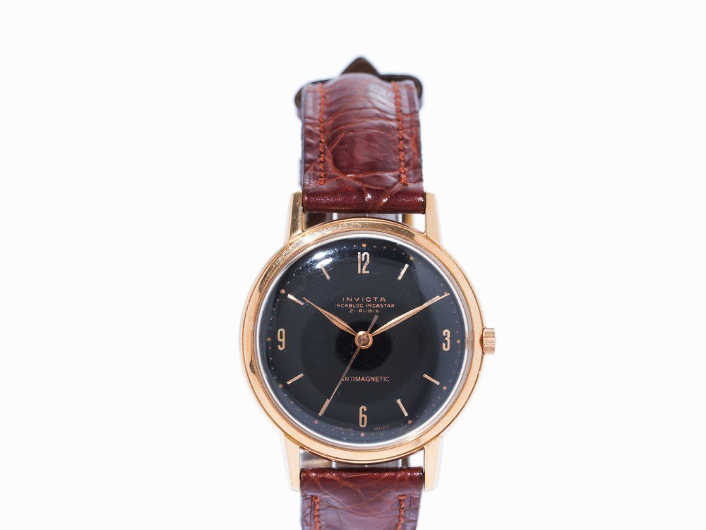 Invicta Antimagnetic Gold Wristwatch, Switzerland, C.