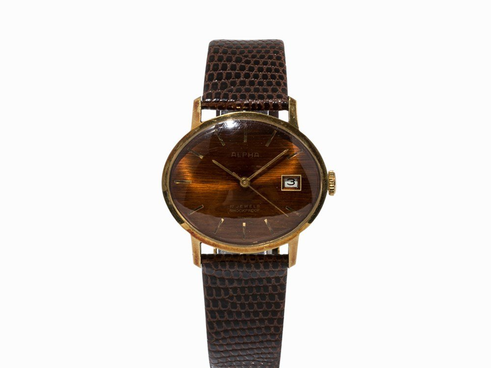 Alpha, Gold-Plated Vintage Wristwatch, Germany, pres.