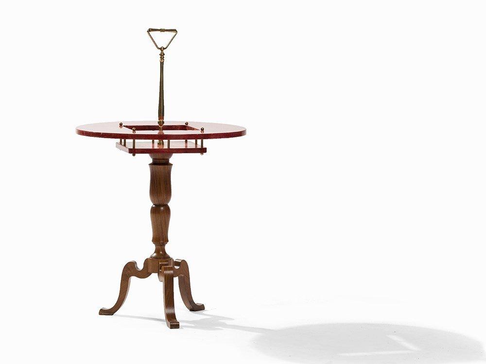 Aldo Tura, Red Goastskin Side Table with Handle, c.
