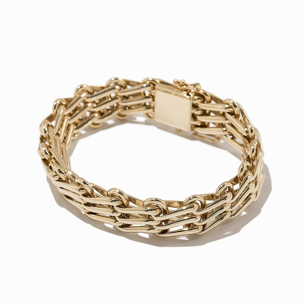 Massive Link Bracelet, 14K Yellow Gold - 7