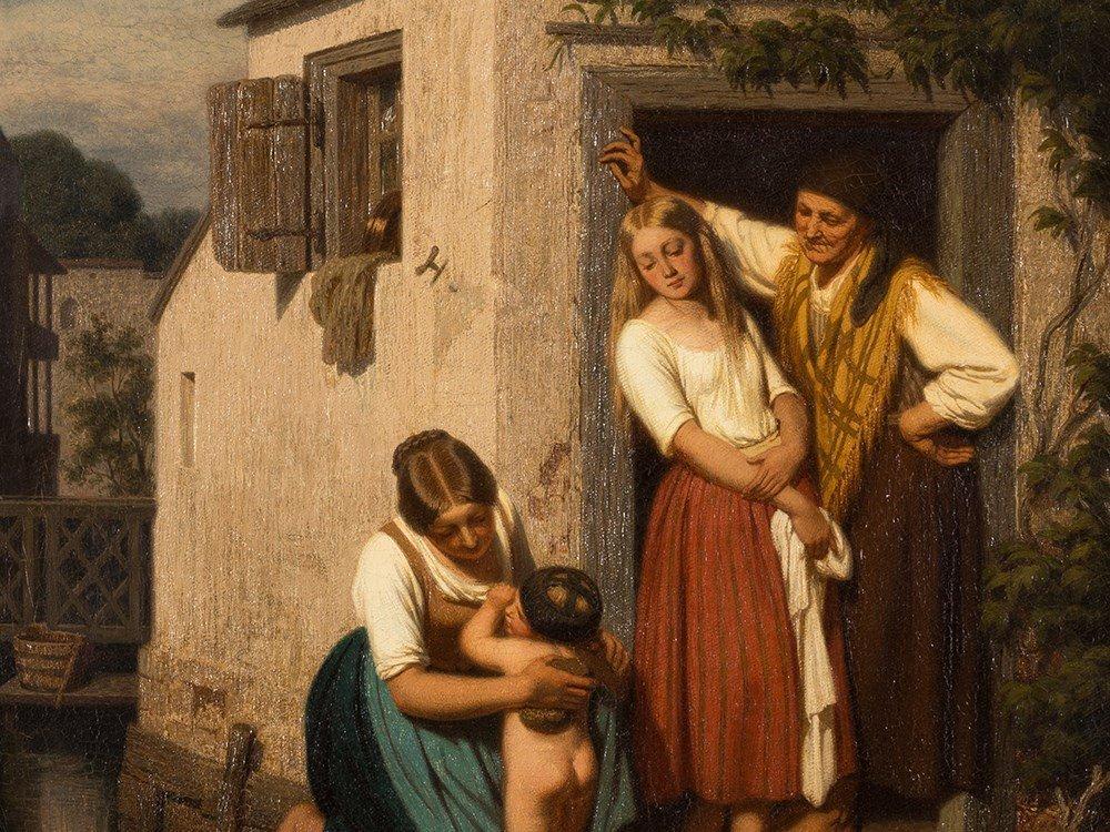 Oswald Adalbert Sickert, Family Scene, Oil Painting,