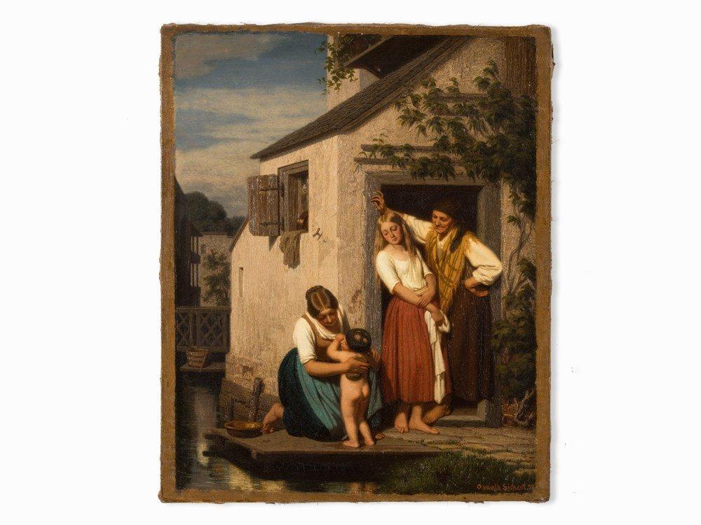 Oswald Adalbert Sickert, Family Scene, Oil Painting, - 3